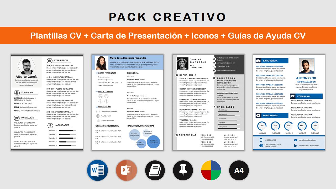 Paquete Plantillas CV Creativo como ejemplos de curriculum vitae con plantillas para rellenar