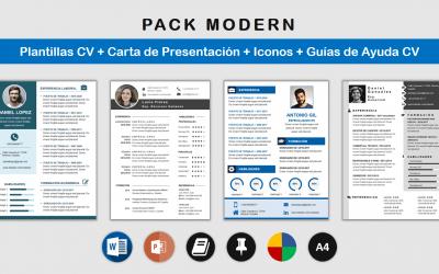 Paquete Plantillas CV Modern: recursos para hacer un Currículum Moderno