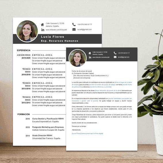 Modelos de currículum con carta laboral en word para completar