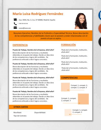 Plantilla para CV Infocubes color naranja